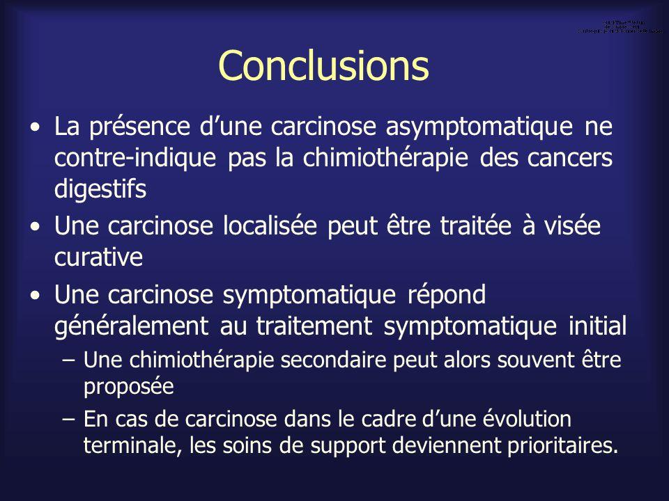 Conclusions La présence dune carcinose asymptomatique ne contre-indique pas la chimiothérapie des cancers digestifs Une carcinose localisée peut être