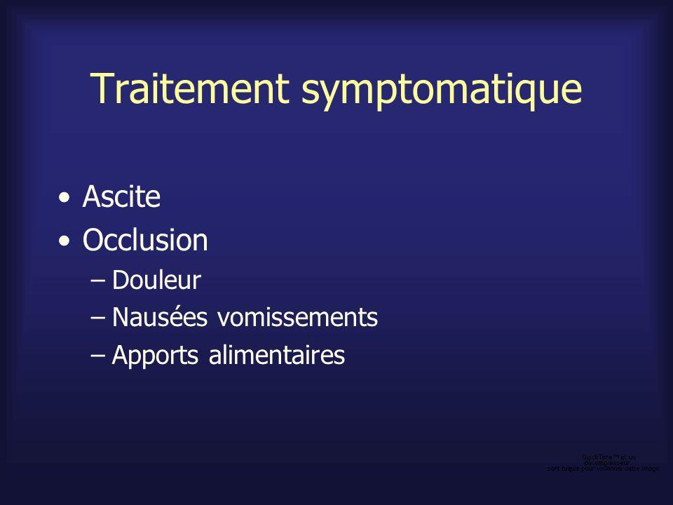 Traitement symptomatique Ascite Mauvais pronostic –Colon ou rectum : 3,7 mois –Estomac ou pancréas : 1,4 mois Mécanisme : obstruction lymphatique, perméabilité vasculaire à lalbumine accrue, HTP si métastases hépatiques importantes Traitement seulement si symptomatique –Régime peu salé –Diurétiques efficaces 30 % cas (surtout si HTP) Spironolactone 100 à 200 mg/j (450 mg/j) +/- furosémide Jugement à 2-3 semaines.
