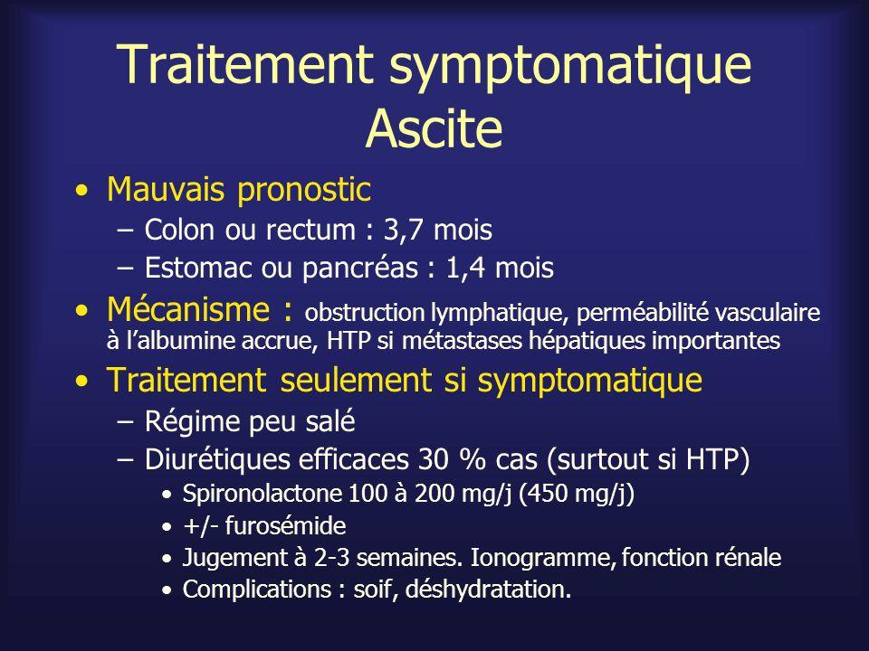 Traitement symptomatique Ascite Mauvais pronostic –Colon ou rectum : 3,7 mois –Estomac ou pancréas : 1,4 mois Mécanisme : obstruction lymphatique, per