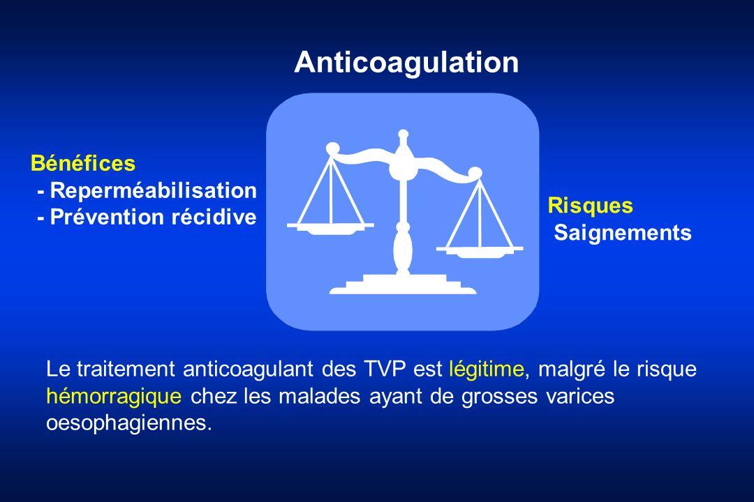 Bénéfices - Reperméabilisation - Prévention récidive Risques Saignements Anticoagulation Le traitement anticoagulant des TVP est légitime, malgré le r