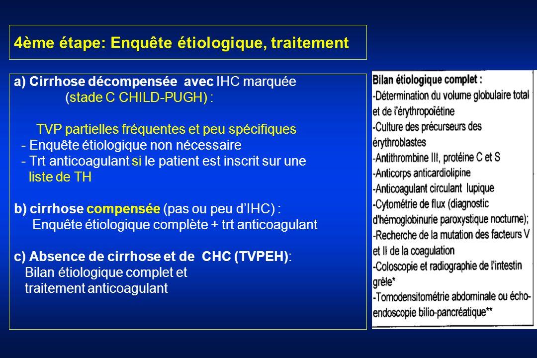 4ème étape: Enquête étiologique, traitement a) Cirrhose décompensée avec IHC marquée (stade C CHILD-PUGH) : TVP partielles fréquentes et peu spécifiqu