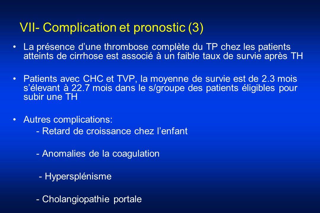 VII- Complication et pronostic (3) La présence dune thrombose complète du TP chez les patients atteints de cirrhose est associé à un faible taux de su