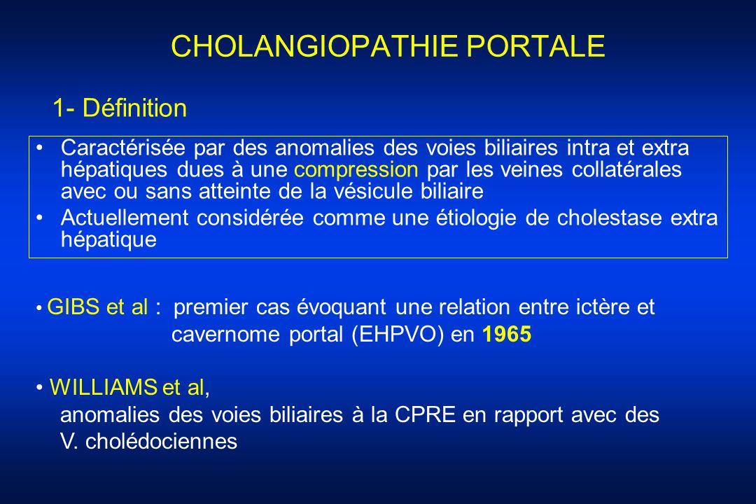 CHOLANGIOPATHIE PORTALE Caractérisée par des anomalies des voies biliaires intra et extra hépatiques dues à une compression par les veines collatérale