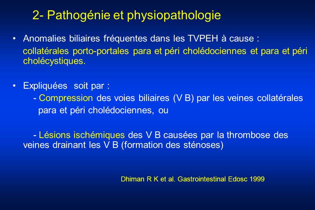 2- Pathogénie et physiopathologie Anomalies biliaires fréquentes dans les TVPEH à cause : collatérales porto-portales para et péri cholédociennes et p