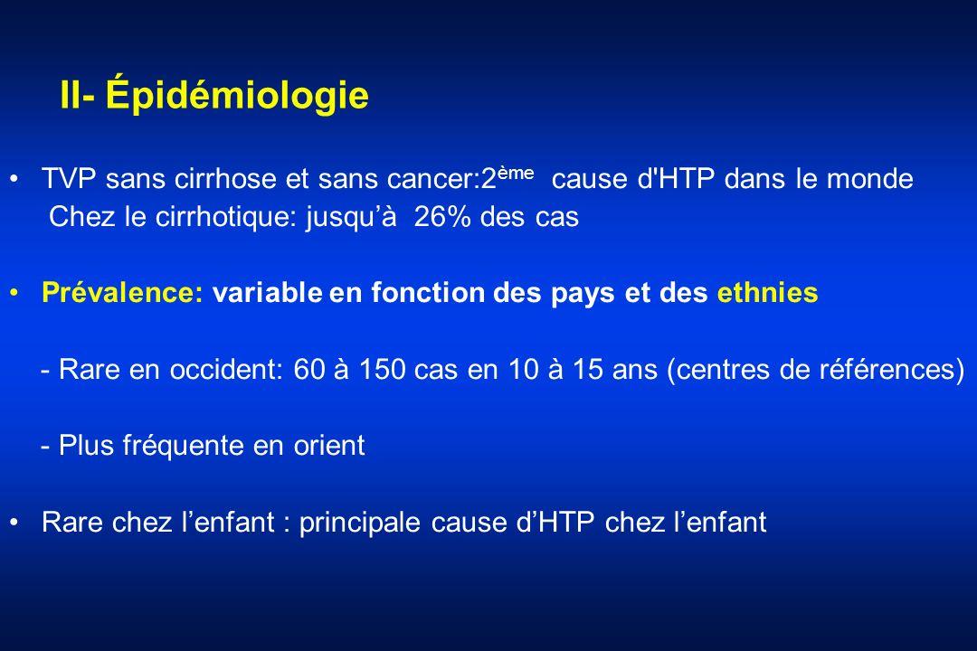 II- Épidémiologie TVP sans cirrhose et sans cancer:2 ème cause d'HTP dans le monde Chez le cirrhotique: jusquà 26% des cas Prévalence: variable en fon