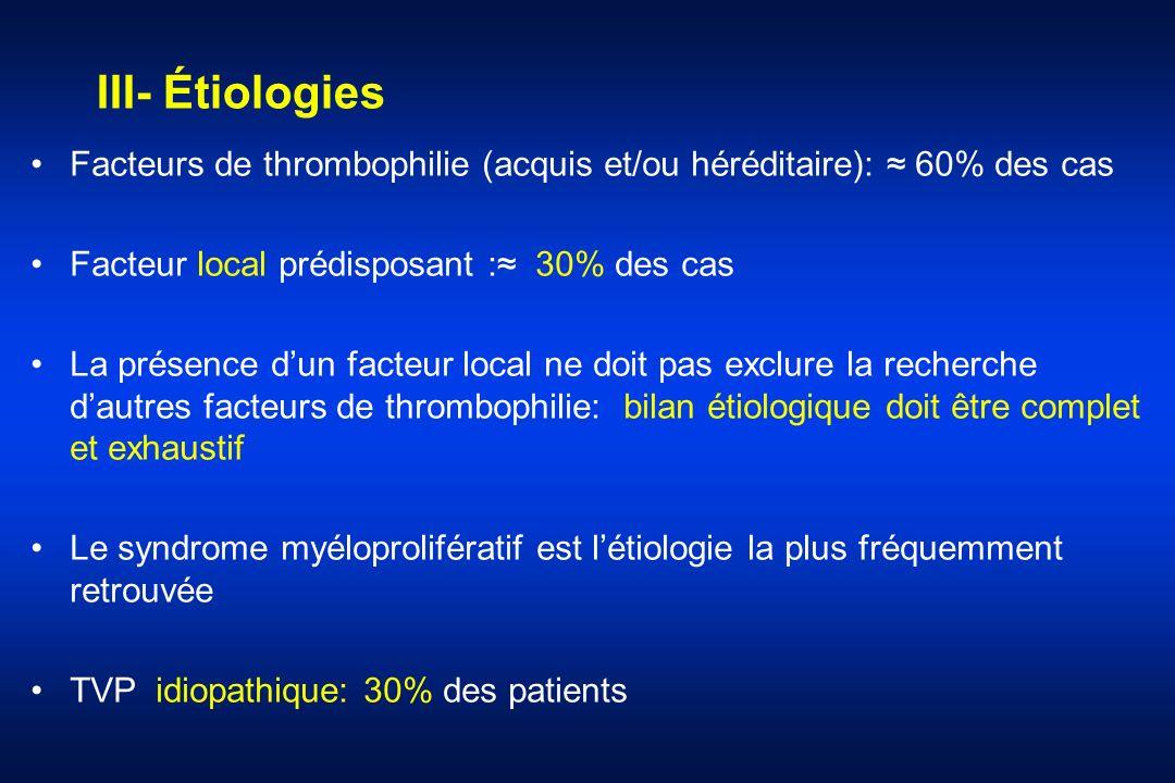 III- Étiologies Facteurs de thrombophilie (acquis et/ou héréditaire): 60% des cas Facteur local prédisposant : 30% des cas La présence dun facteur loc
