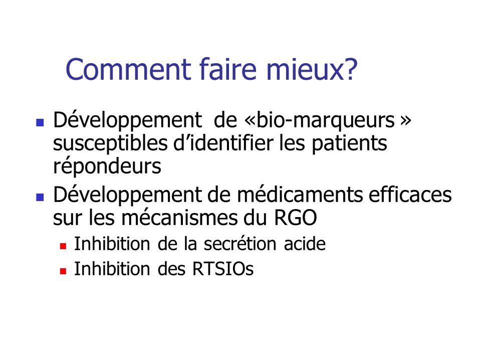 Comment faire mieux? Développement de «bio-marqueurs » susceptibles didentifier les patients répondeurs Développement de médicaments efficaces sur les