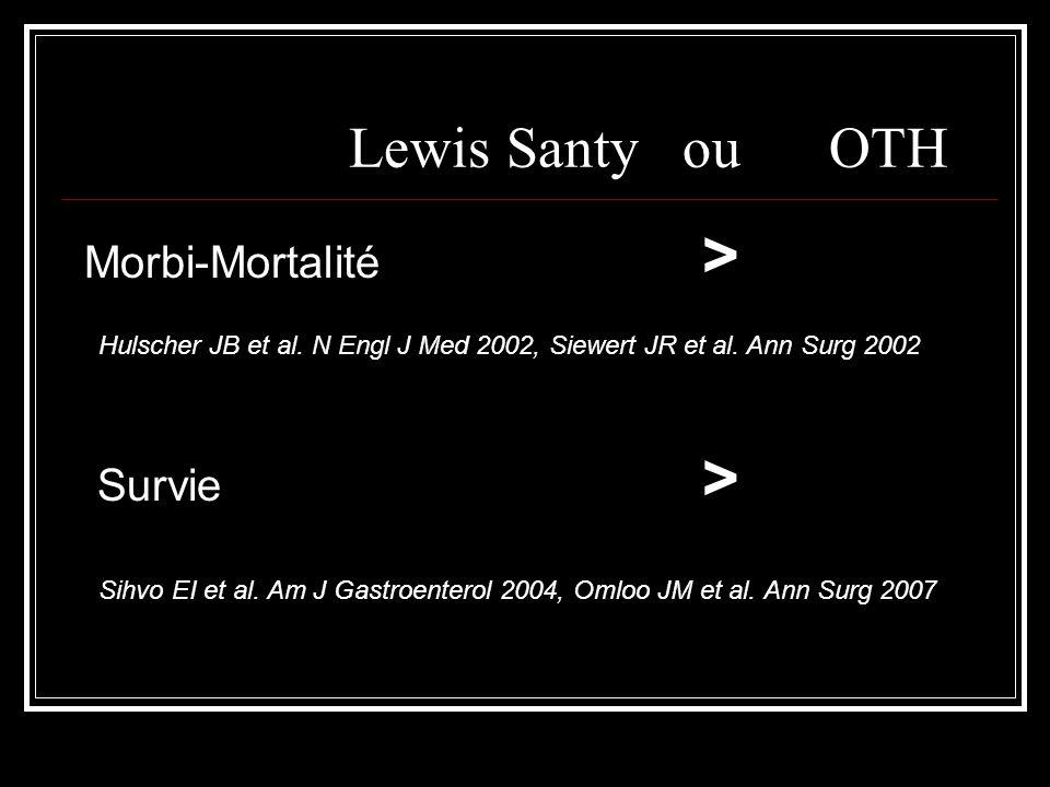 Lewis Santy ou OTH Morbi-Mortalité > Survie > Hulscher JB et al. N Engl J Med 2002, Siewert JR et al. Ann Surg 2002 Sihvo EI et al. Am J Gastroenterol
