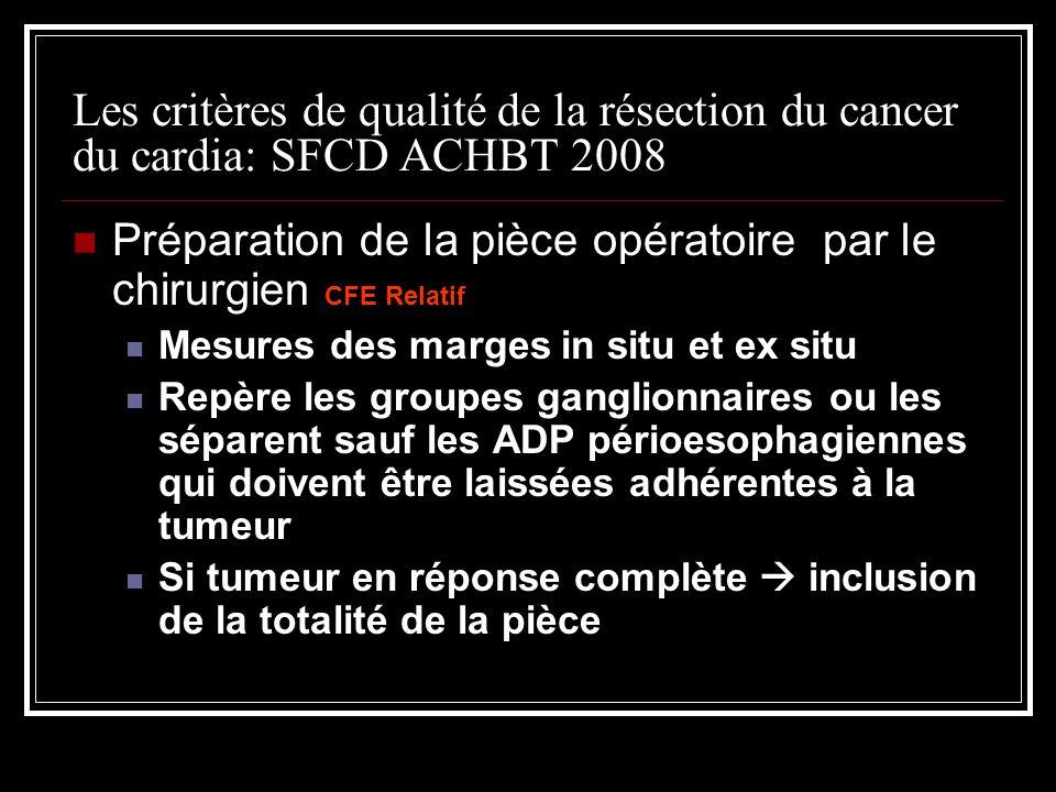 Les critères de qualité de la résection du cancer du cardia: SFCD ACHBT 2008 Préparation de la pièce opératoire par le chirurgien CFE Relatif Mesures
