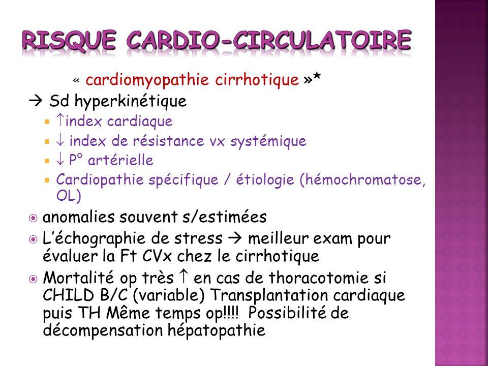 « cardiomyopathie cirrhotique »* Sd hyperkinétique index cardiaque index de résistance vx systémique P° artérielle Cardiopathie spécifique / étiologie