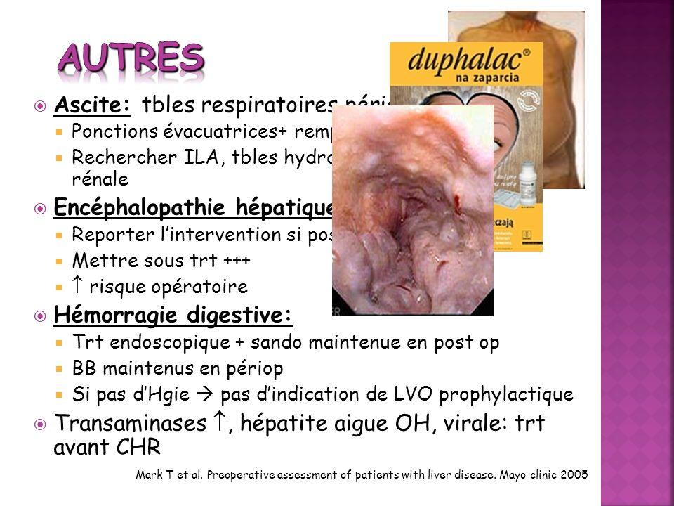 Ascite: tbles respiratoires périop Ponctions évacuatrices+ remplissage Rechercher ILA, tbles hydro-électro, insuffisance rénale Encéphalopathie hépati