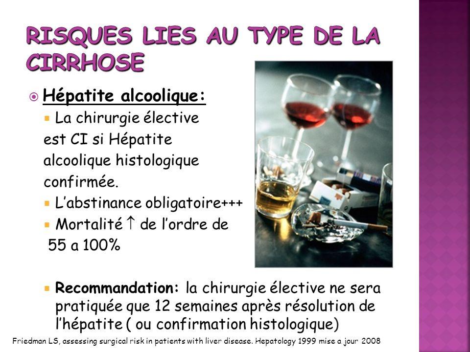 Hépatite alcoolique: La chirurgie élective est CI si Hépatite alcoolique histologique confirmée. Labstinance obligatoire+++ Mortalité de lordre de 55