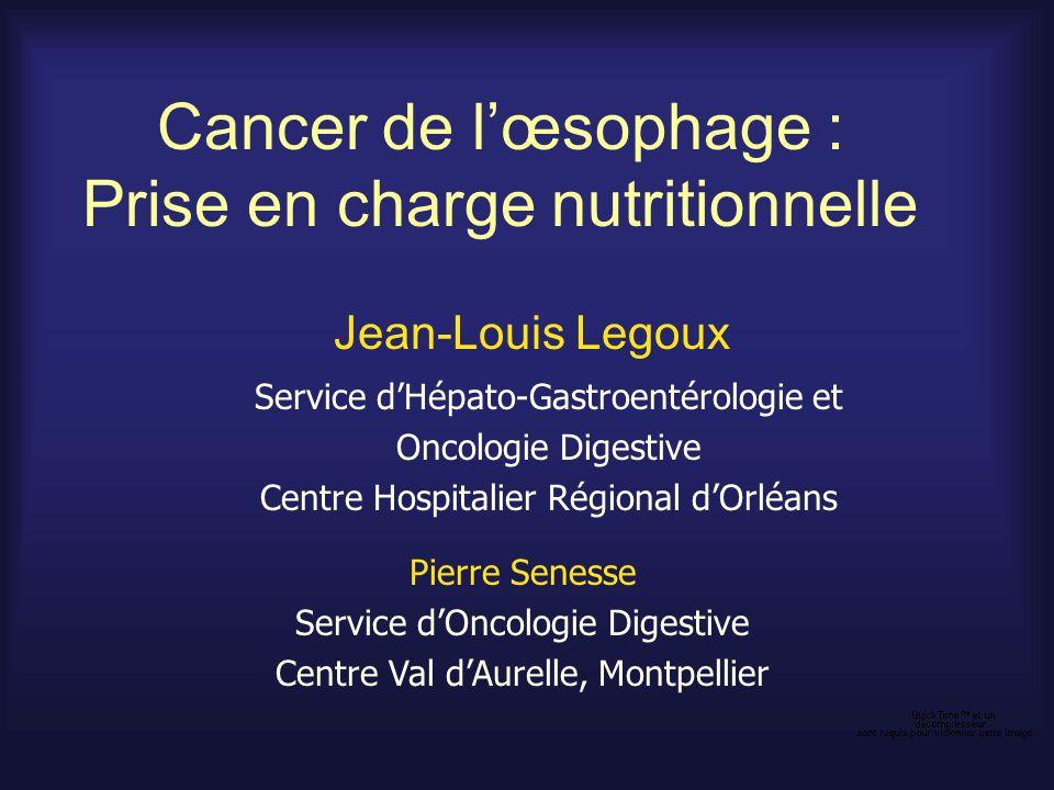 Cancer de lœsophage : Prise en charge nutritionnelle Jean-Louis Legoux Service dHépato-Gastroentérologie et Oncologie Digestive Centre Hospitalier Rég
