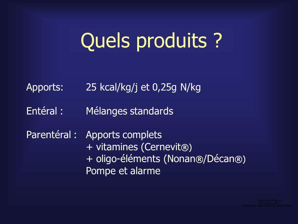 Quels produits ? Apports: 25 kcal/kg/j et 0,25g N/kg Entéral : Mélanges standards Parentéral : Apports complets + vitamines (Cernevit ®) + oligo-éléme