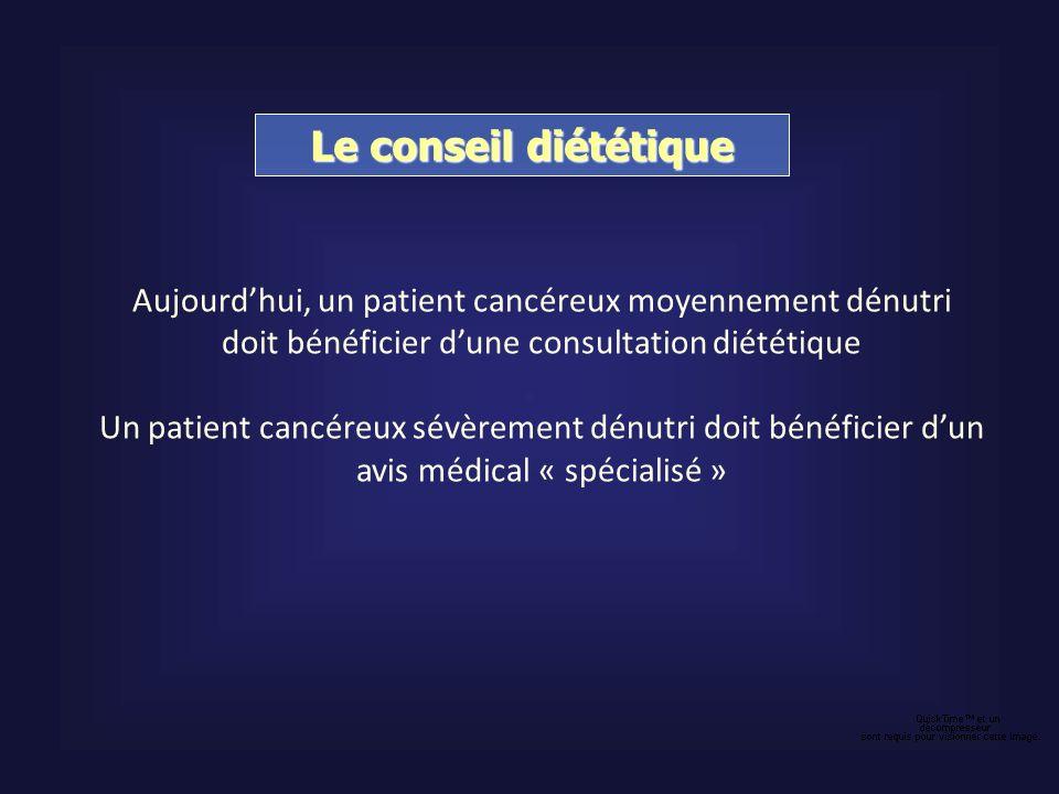 Le conseil diététique Aujourdhui, un patient cancéreux moyennement dénutri doit bénéficier dune consultation diététique Un patient cancéreux sévèremen