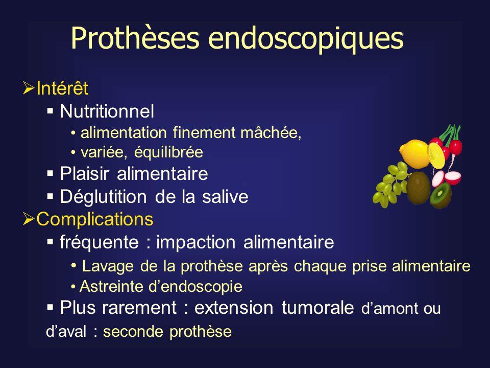 Prothèses endoscopiques Intérêt Nutritionnel alimentation finement mâchée, variée, équilibrée Plaisir alimentaire Déglutition de la salive Complicatio