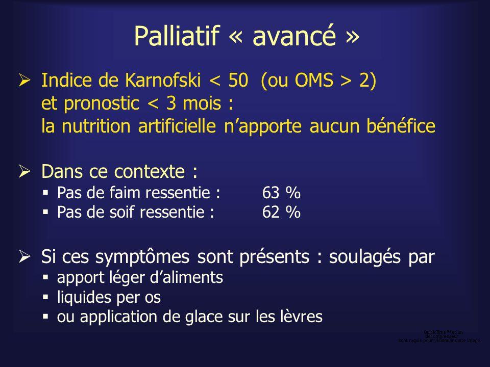 Palliatif « avancé » Indice de Karnofski 2) et pronostic < 3 mois : la nutrition artificielle napporte aucun bénéfice Dans ce contexte : Pas de faim r