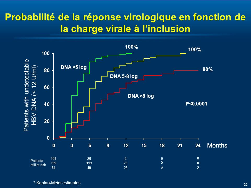 22 Months Patients with undetectable HBV DNA (< 12 U/ml) Patients still at risk 108262 Probabilité de la réponse virologique en fonction de la charge virale à linclusion 100% DNA <5 log 100% 0 0 19911923 5 0 * Kaplan-Meier estimates DNA 5-8 log DNA >8 log 80% 644923 8 2 P<0.0001