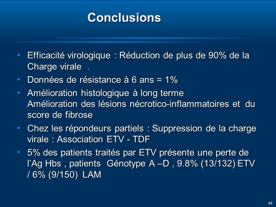 40Conclusions Efficacité virologique : Réduction de plus de 90% de la Charge virale.