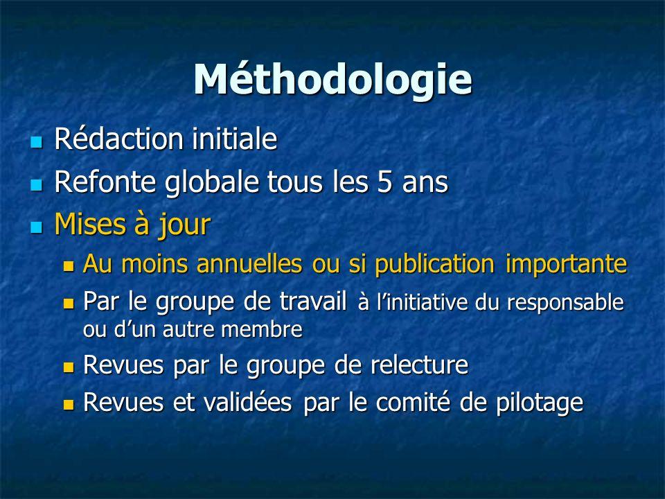 Méthodologie Rédaction initiale Rédaction initiale Refonte globale tous les 5 ans Refonte globale tous les 5 ans Mises à jour Mises à jour Au moins an