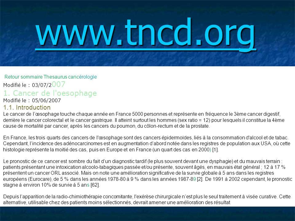 Retour sommaire Thesaurus cancérolog ie Modifi é le : 03/07/2 007 1. Cancer de l'oesophage Modifi é le : 05/06/2007 1.1. Introduction Le cancer de lœs