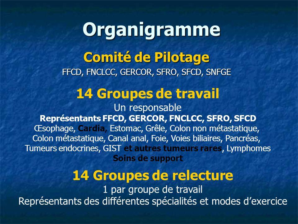 Organigramme Comité de Pilotage FFCD, FNCLCC, GERCOR, SFRO, SFCD, SNFGE 14 Groupes de travail Un responsable Représentants FFCD, GERCOR, FNCLCC, SFRO,