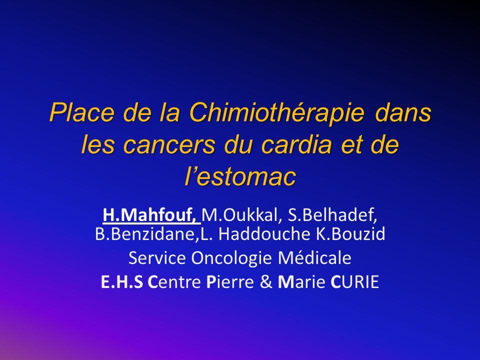 Place de la Chimiothérapie dans les cancers du cardia et de lestomac H.Mahfouf, M.Oukkal, S.Belhadef, B.Benzidane,L. Haddouche K.Bouzid Service Oncolo