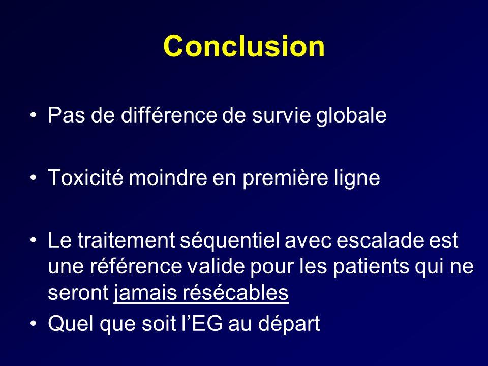 Conclusion Pas de différence de survie globale Toxicité moindre en première ligne Le traitement séquentiel avec escalade est une référence valide pour
