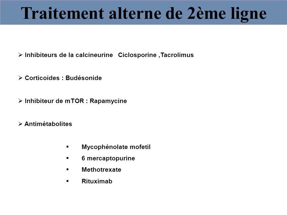 Traitement alterne de 2ème ligne Inhibiteurs de la calcineurine Ciclosporine,Tacrolimus Corticoides : Budésonide Inhibiteur de mTOR : Rapamycine Antim