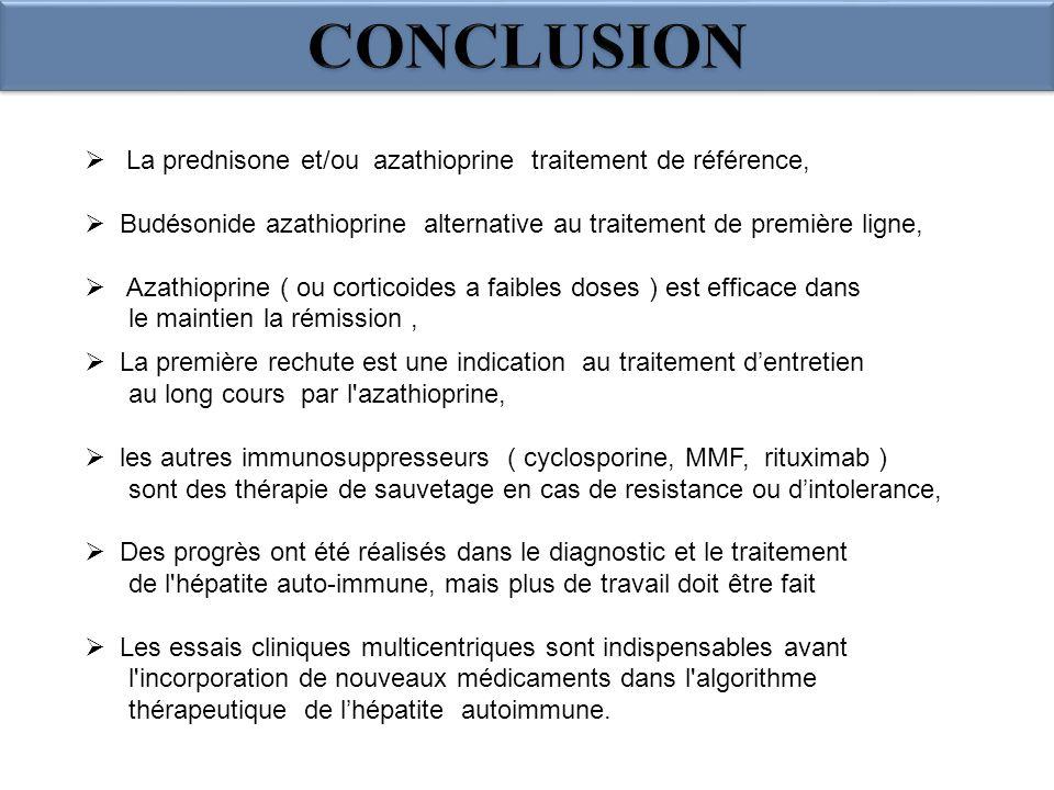 La prednisone et/ou azathioprine traitement de référence, Budésonide azathioprine alternative au traitement de première ligne, Azathioprine ( ou corti