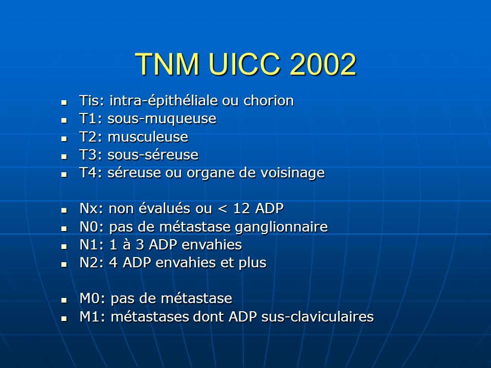 TNM UICC 2002 Tis: intra-épithéliale ou chorion Tis: intra-épithéliale ou chorion T1: sous-muqueuse T1: sous-muqueuse T2: musculeuse T2: musculeuse T3