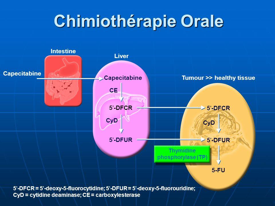 Intestine Liver Capecitabine 5'-DFCR 5'-DFUR CyD 5'-DFCR 5'-DFUR 5-FU Tumour >> healthy tissue Capecitabine CyD CE 5'-DFCR = 5'-deoxy-5-fluorocytidine