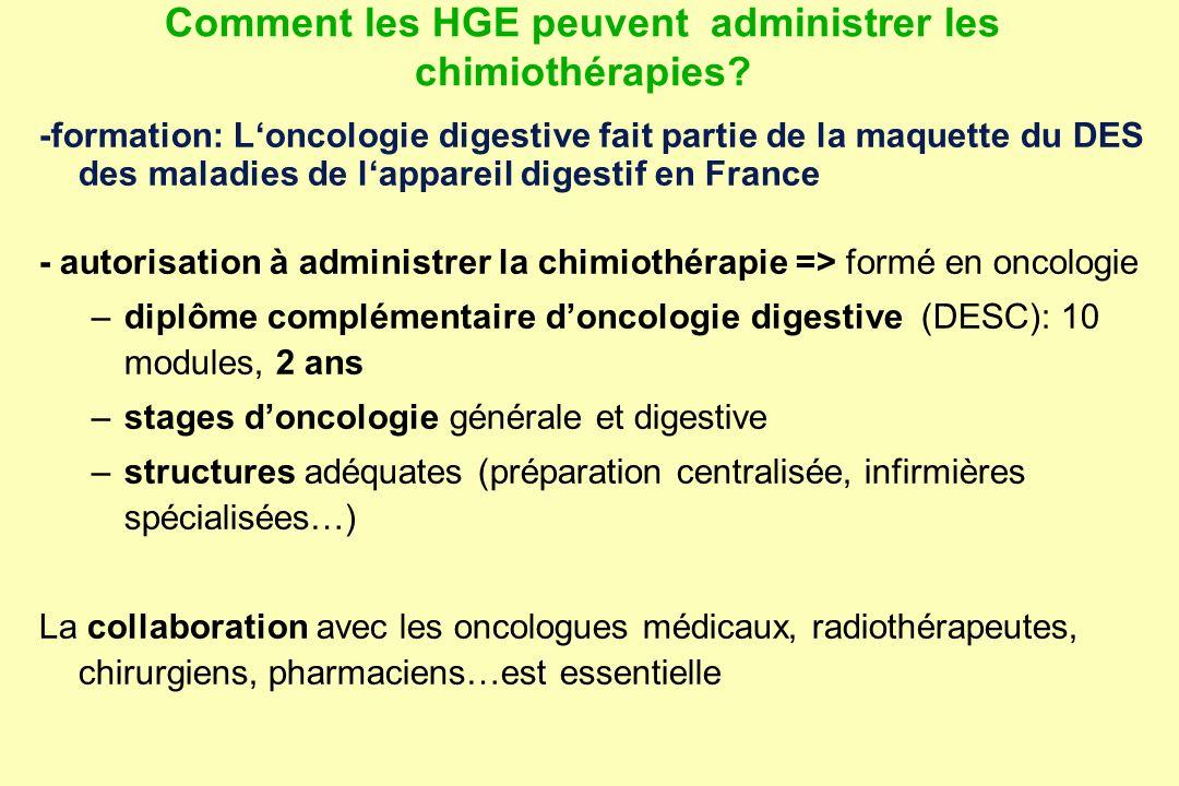 Comment les HGE peuvent administrer les chimiothérapies? -formation: Loncologie digestive fait partie de la maquette du DES des maladies de lappareil