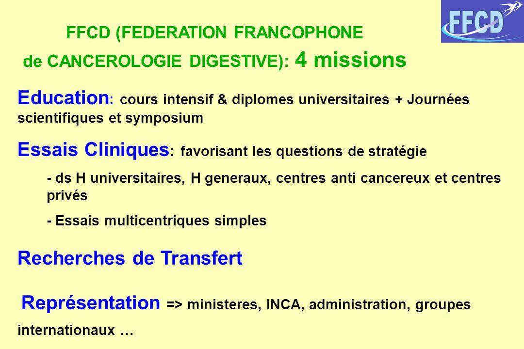 FFCD (FEDERATION FRANCOPHONE de CANCEROLOGIE DIGESTIVE): 4 missions Education : cours intensif & diplomes universitaires + Journées scientifiques et s
