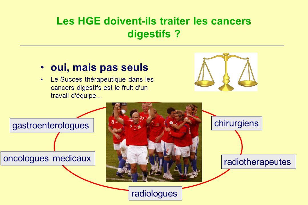 Les HGE doivent-ils traiter les cancers digestifs ? oui, mais pas seuls Le Succes thérapeutique dans les cancers digestifs est le fruit dun travail dé
