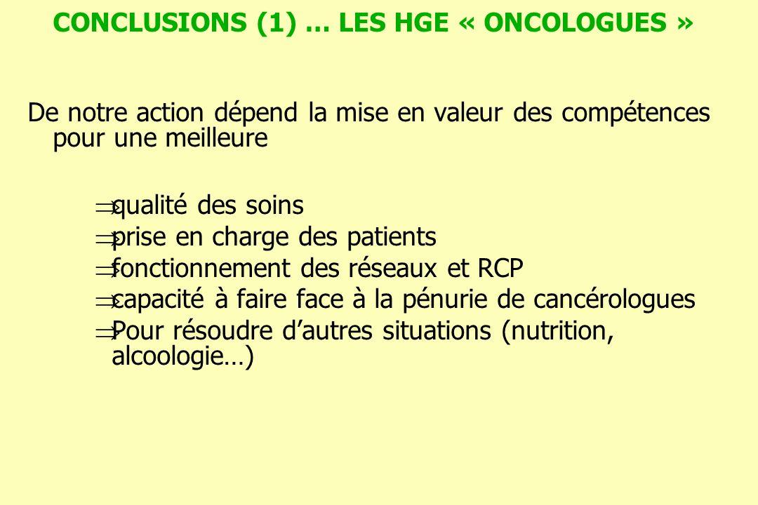 CONCLUSIONS (1) … LES HGE « ONCOLOGUES » De notre action dépend la mise en valeur des compétences pour une meilleure qualité des soins prise en charge