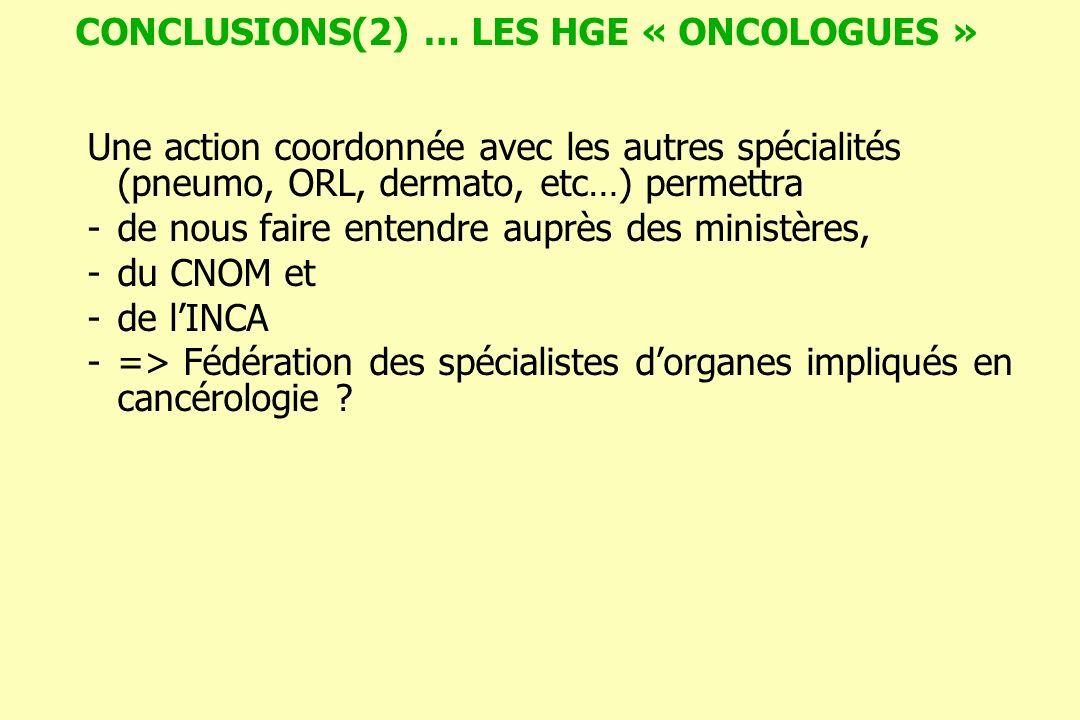 CONCLUSIONS(2) … LES HGE « ONCOLOGUES » Une action coordonnée avec les autres spécialités (pneumo, ORL, dermato, etc…) permettra -de nous faire entend