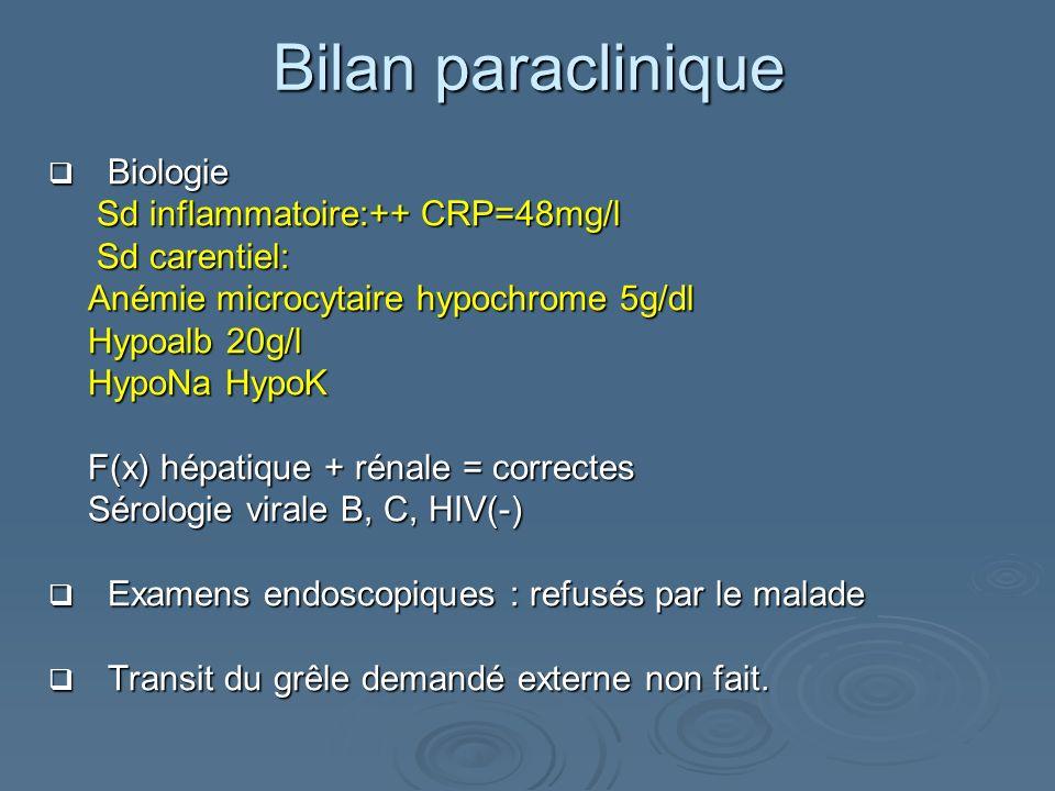 Biologie Biologie Sd inflammatoire:++ CRP=48mg/l Sd inflammatoire:++ CRP=48mg/l Sd carentiel: Sd carentiel: Anémie microcytaire hypochrome 5g/dl Hypoa