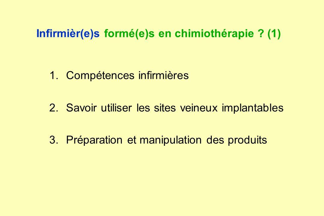 Infirmièr(e)s formé(e)s en chimiothérapie ? (1) 1.Compétences infirmières 2.Savoir utiliser les sites veineux implantables 3.Préparation et manipulati
