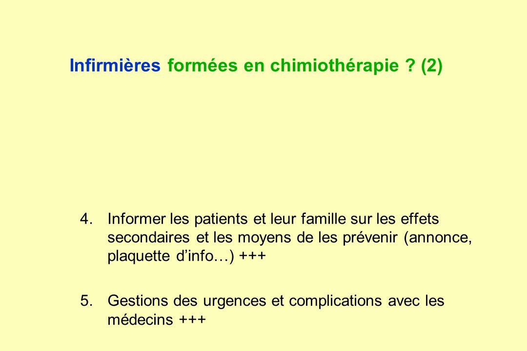 Infirmières formées en chimiothérapie ? (2) 1.Compétences infirmières 2.Préparation et manipulation des produits 3.Savoir utiliser les sites veineux i