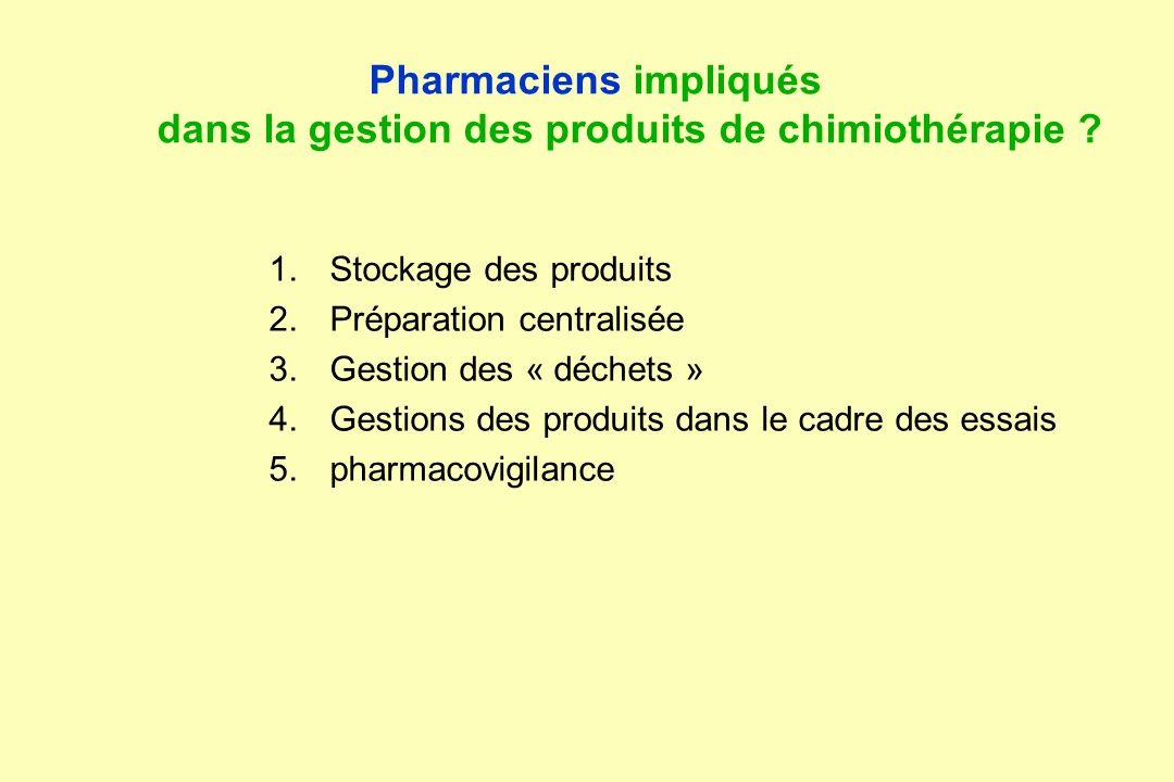Pharmaciens impliqués dans la gestion des produits de chimiothérapie ? 1.Stockage des produits 2.Préparation centralisée 3.Gestion des « déchets » 4.G