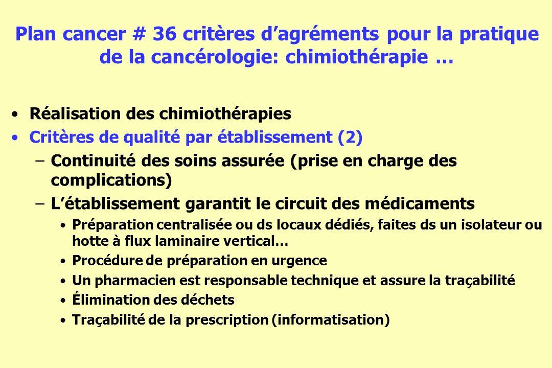 Plan cancer # 36 critères dagréments pour la pratique de la cancérologie: chimiothérapie … Réalisation des chimiothérapies Critères de qualité par éta