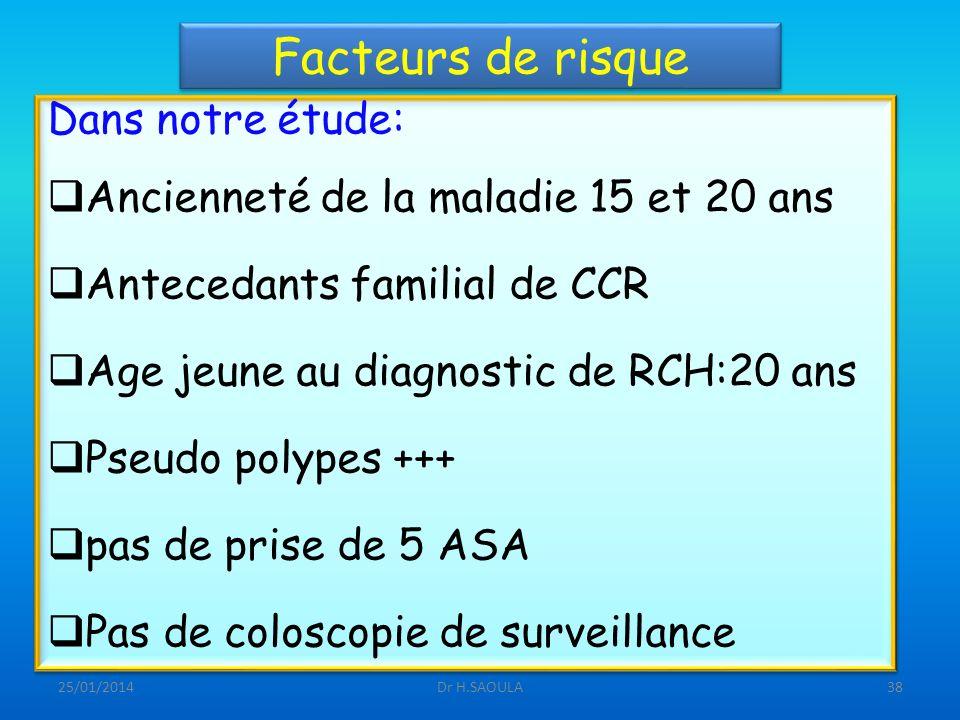 25/01/2014Dr H.SAOULA38 Facteurs de risque Dans notre étude: Ancienneté de la maladie 15 et 20 ans Antecedants familial de CCR Age jeune au diagnostic