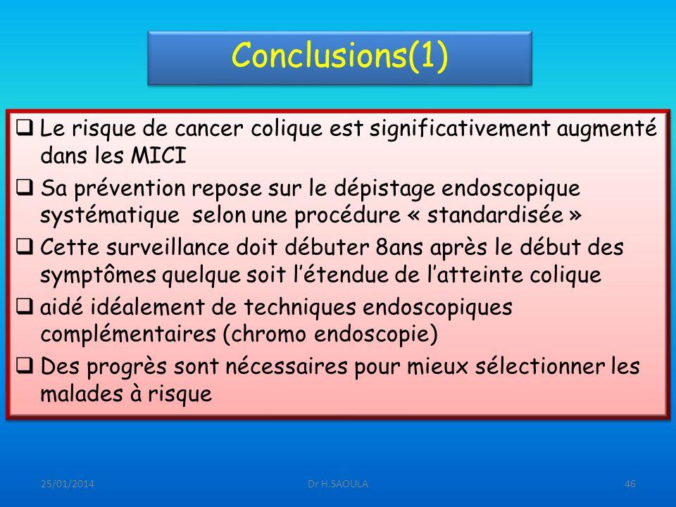 25/01/2014Dr H.SAOULA46 Conclusions(1) Le risque de cancer colique est significativement augmenté dans les MICI Sa prévention repose sur le dépistage