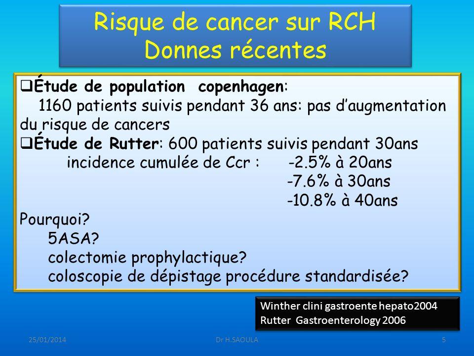 25/01/2014Dr H.SAOULA5 Risque de cancer sur RCH Donnes récentes Étude de population copenhagen: 1160 patients suivis pendant 36 ans: pas daugmentation