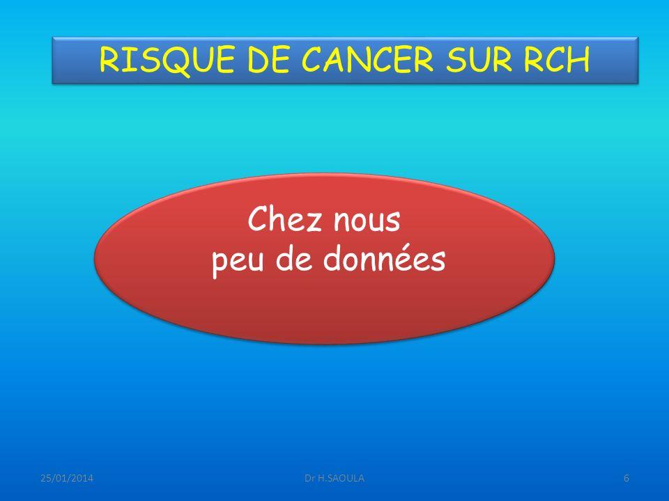 25/01/2014Dr H.SAOULA6 RISQUE DE CANCER SUR RCH Chez nous peu de données Chez nous peu de données