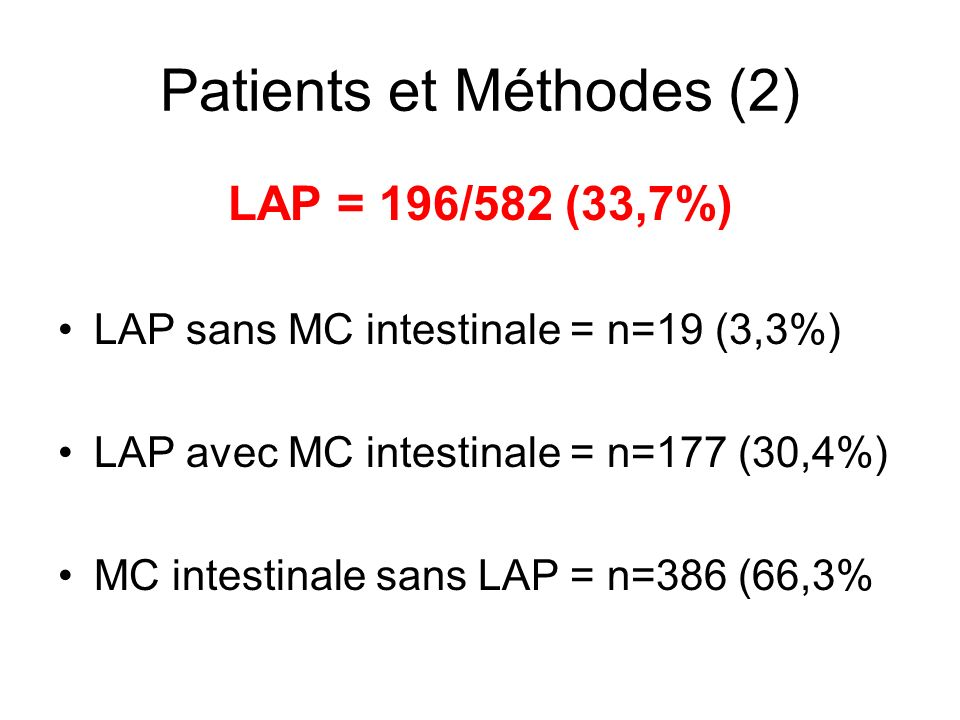 Patients et Méthodes (2) LAP = 196/582 (33,7%) LAP sans MC intestinale = n=19 (3,3%) LAP avec MC intestinale = n=177 (30,4%) MC intestinale sans LAP =