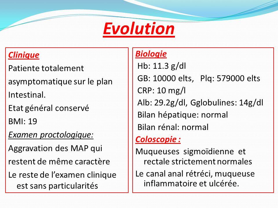 Evolution Clinique Patiente totalement asymptomatique sur le plan Intestinal. Etat général conservé BMI: 19 Examen proctologique: Aggravation des MAP