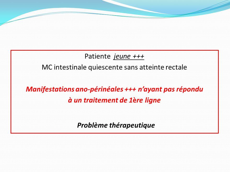 Patiente jeune +++ MC intestinale quiescente sans atteinte rectale Manifestations ano-périnéales +++ nayant pas répondu à un traitement de 1ère ligne