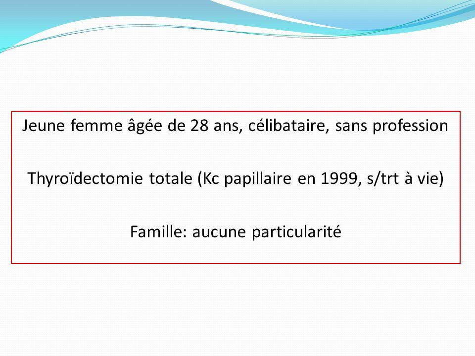 Jeune femme âgée de 28 ans, célibataire, sans profession Thyroïdectomie totale (Kc papillaire en 1999, s/trt à vie) Famille: aucune particularité